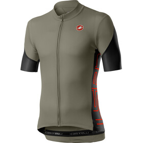 Castelli Entrata V Maillot Manga Corta Hombre, bark green/light black/fiery red